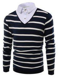 Faux Twinset Striped Shirt Collar Knitwear -