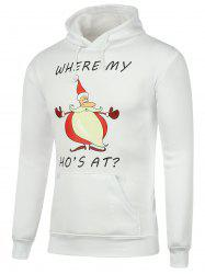 Santa Claus Print Pocket Christmas Hoodie - WHITE 3XL