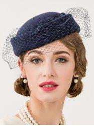 Cocktail Party Bowknot Veil Felt Pillbox Hat - DEEP BLUE