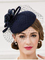 Cocktail Party Flower Veil Felt Pillbox Hat - PURPLISH BLUE