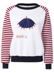 Cartoon Embroidery Raglan Stripe Sweatshirt