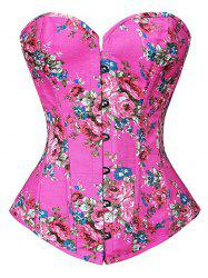 Lace Up Floral Corset Top - ROSE RED