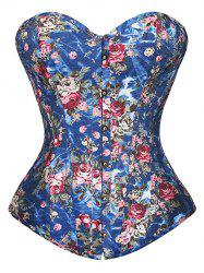 Floral Print Lace Up Strapless Corset Top - BLUE