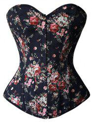 Floral Print Lace Up Strapless Corset Top - BLACK