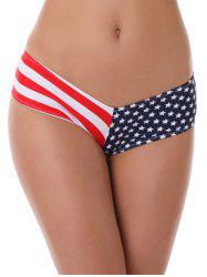 Star Print Striped Panties - RED