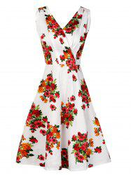 Sleeveless Flower Pattern Vintage Dress