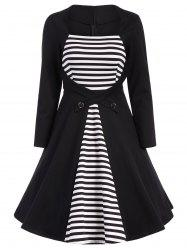 Stripe Modest A Line Long Sleeve Dress