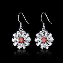 Artificial Ruby Flower Earrings