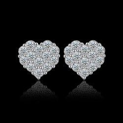 Rhinestoned Heart Stud Earrings