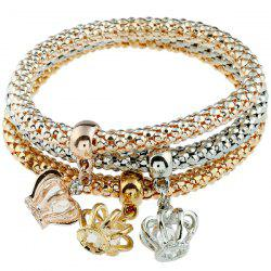 3PCS Rhinestone Crown Charm Bracelets - COLORMIX