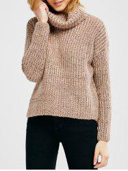 Turtle Neck Heathered Pullover Sweater -