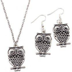 Owl Pendant Necklace and Earrings