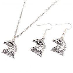 Eagle Head Alloy Necklace and Earrings -