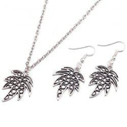Leaf Pendant Necklace and Earrings - SILVER