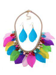 Artificial Gem Feather Necklace and Earrings - COLORMIX