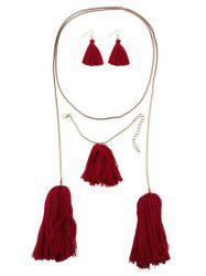 Tassel Necklace Earrings and Bracelet - RED