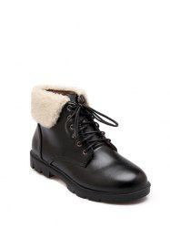 Faux Shearling Panel Lace Up Ankle Boots