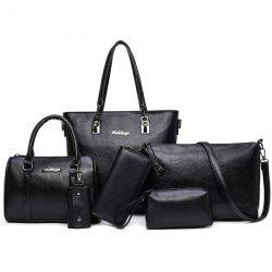 Zipper Tote Handbag 6 Pc Set - BLACK