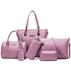 Zipper Tote Handbag 6 Pc Set - PINK
