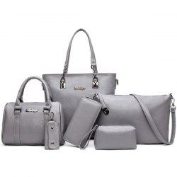 Zipper Tote Handbag 6 Pc Set