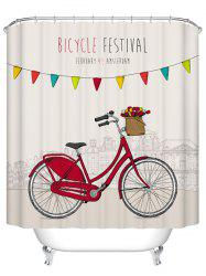 Bicycle Pattern Waterproof Shower Curtain Bath Decoration