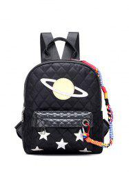 Stitching Argyle Star Pattern Backpack
