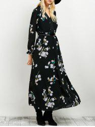 Floral Print Flowing Maxi Dress -