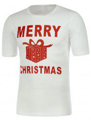 Gift Box Print Short Sleeve Christmas T-Shirt -