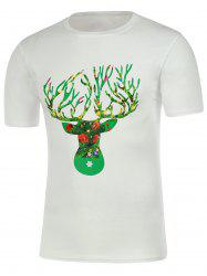 Deer Horn Graphic Short Sleeve Christmas T-Shirt