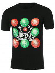 Snowflake Print Short Sleeve Christmas T-Shirt - BLACK L