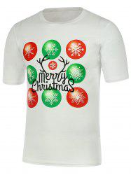Snowflake Print Short Sleeve Christmas T-Shirt - WHITE 2XL