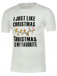 Letter Print Short Sleeve Christmas T-Shirt