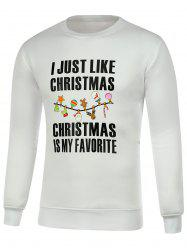Letter Print Crew Neck Pullover Christmas Sweatshirt -