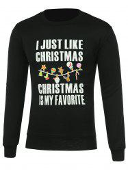 Letter Print Crew Neck Pullover Christmas Sweatshirt