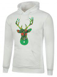 Deer Printed Kangaroo Pocket Christmas Hoodie