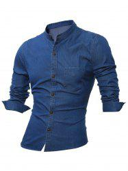 Stand Collar Long Sleeve Pocket Denim Shirt
