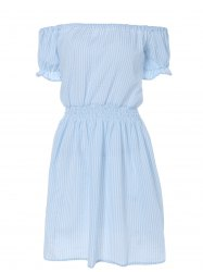 Casual Off Shoulder Striped A Line Dress - LIGHT BLUE 2XL