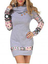 Long Sleeve Geometry Mini Sheath Dress - GRAY