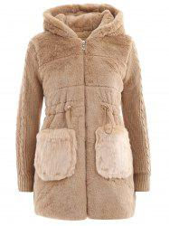 Christmas Furry Pocket Hooded Fuzzy Coat