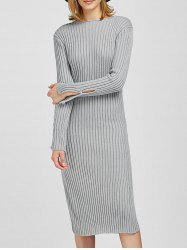 Long Sleeve Slit Midi Bodycon Jumper Dress - GRAY