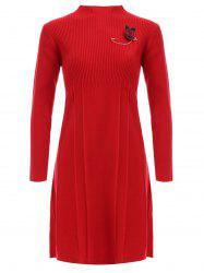 Ribbed Long Sleeve Sweater Dress With Brooch -