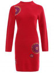 Beaded Mock Neck Knit Bodycon Dress -