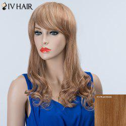 Long Wavy Inclined Bang Fluffy Siv Human Hair Wig