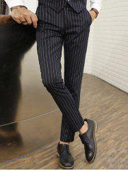Zipper Fly Vertical Stripe Straight Leg Pants