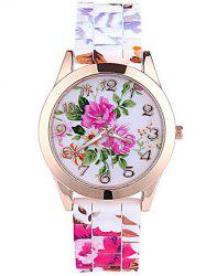 Floral Printed Dial Plate Silicone Watch -