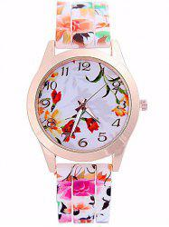 Flower Printed Dial Plate Silicone Watch -