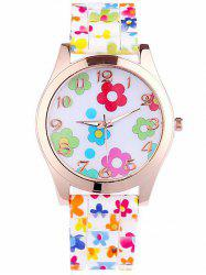 Floral Printed Silicone Watch -