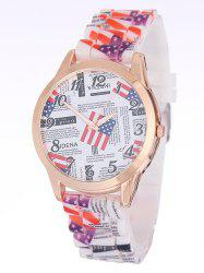 American Flag Printed Silicone Watch - WHITE