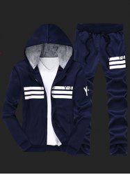 Zip Up Flocking Cool Zip Up Hoodies for Men and Striped Pants Twinset - CADETBLUE