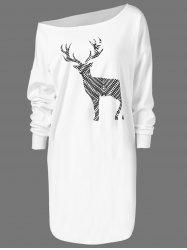 Skew Neck Pullover Sweatshirt With ELK Patterned - WHITE XL